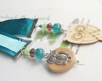 Owl & dandelion embroidery ribbon bookmark
