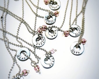 SaLe FREE colored stones add on option! Word of the Year Personalized Necklace~
