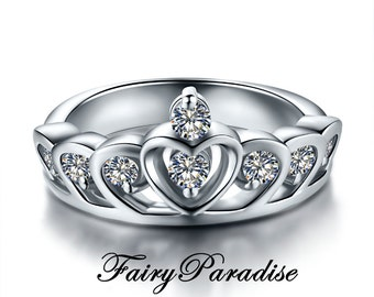 Accent Tiara Ring, Princess Crown Ring, Princess Ring, Silver Crown Promise Rings, Princess Crown Engagement Ring Sterling Silver Tiara Ring