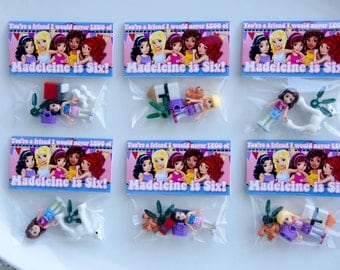 Mini figure INCLUDED custom Lego Friend mini figure Compatible Party Favors Treat Bag and Custom bag tag