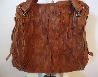 1970's Must See Cognac Leather Handbag