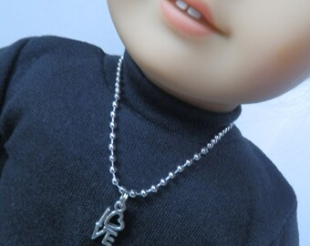 """Doll Jewelry for 18"""" Dolls ...LOVE Charm 8"""" Necklace"""