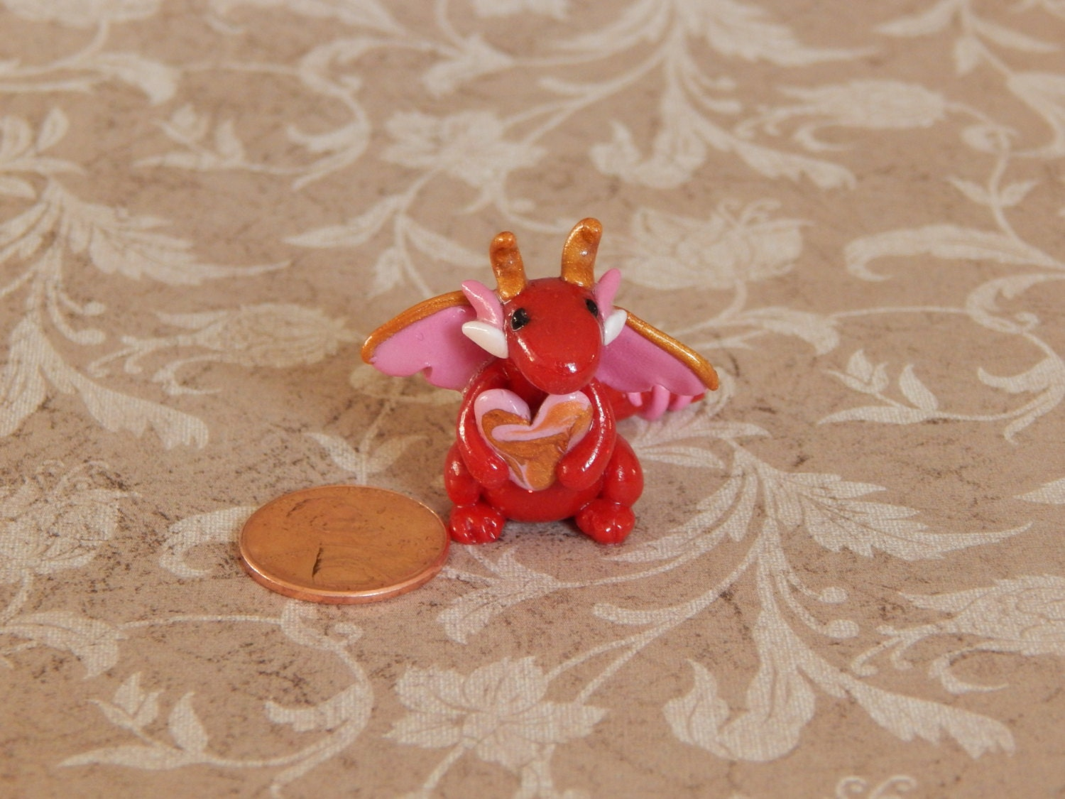 REDUCED: Polymer Clay Dragon Red Glitter Heart Dragon Clay