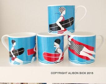 Vintage Surf | Fine Bone China Mug | Cornwall | Alison Bick