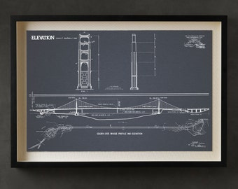 Golden Gate Bridge blueprint : Vintage San Francisco Golden Gate Bridge blueprint drawing art print poster