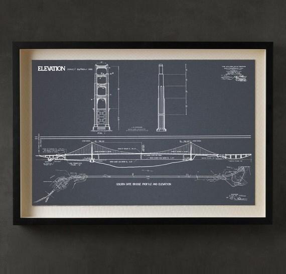 Golden Gate Bridge Blueprint Vintage San By