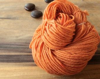 Orange Madder Dyed Yarn, Naturally Dyed, Plant Dyed Yarn, Bright Orange Yarn, Tangerine Merino Yarn, Superwash Merino Yarn, Worsted Merino