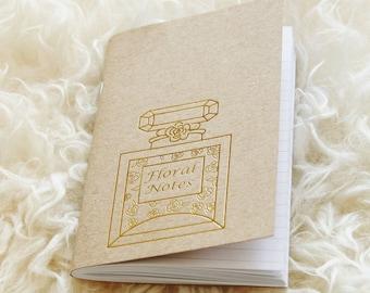 Floral Notes Perfume Bottle Gold Foil Notebook