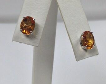 Natural Citrine Stud Earrings Solid 14KT White Gold