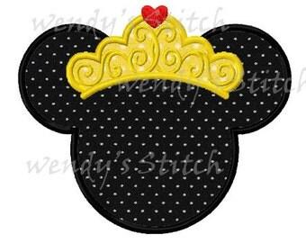 princess mouse applique machine embroidery design instant download