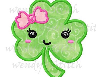 St Patrick's Day girly shamrock applique machine embroidery design