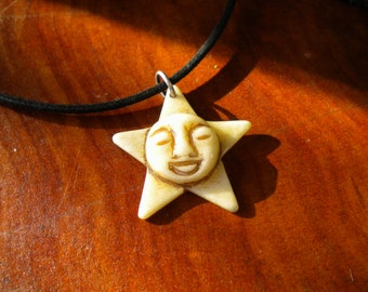 Bone Star and Faced Moon Pendant - Z1-108