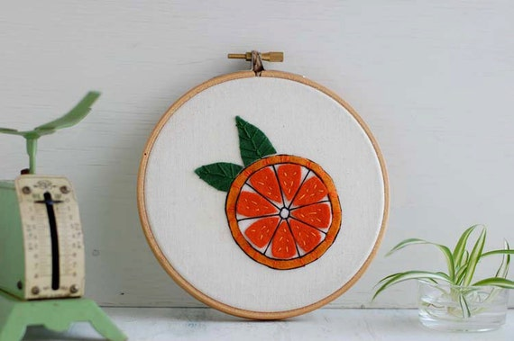 "Orange Embroidery Hoop, Embroidered Wall Art, 5"" Embroidery Hoop, Kitchen Embroidery, Embroidered Orange"