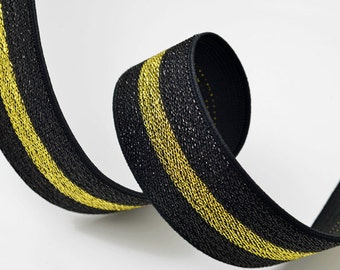 "Metallic Gold and Silver Elastic Stretch Ribbon Trim, Elastic Band by 1-yard, 1-1/2"", TR-10995"