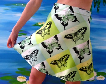 green skirt, green skirts, green dress, green dresses, butterfly print dress, butterfly print skirt, green summer skirt, summer skirts,
