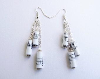 Music Notes triple paper bead earrings