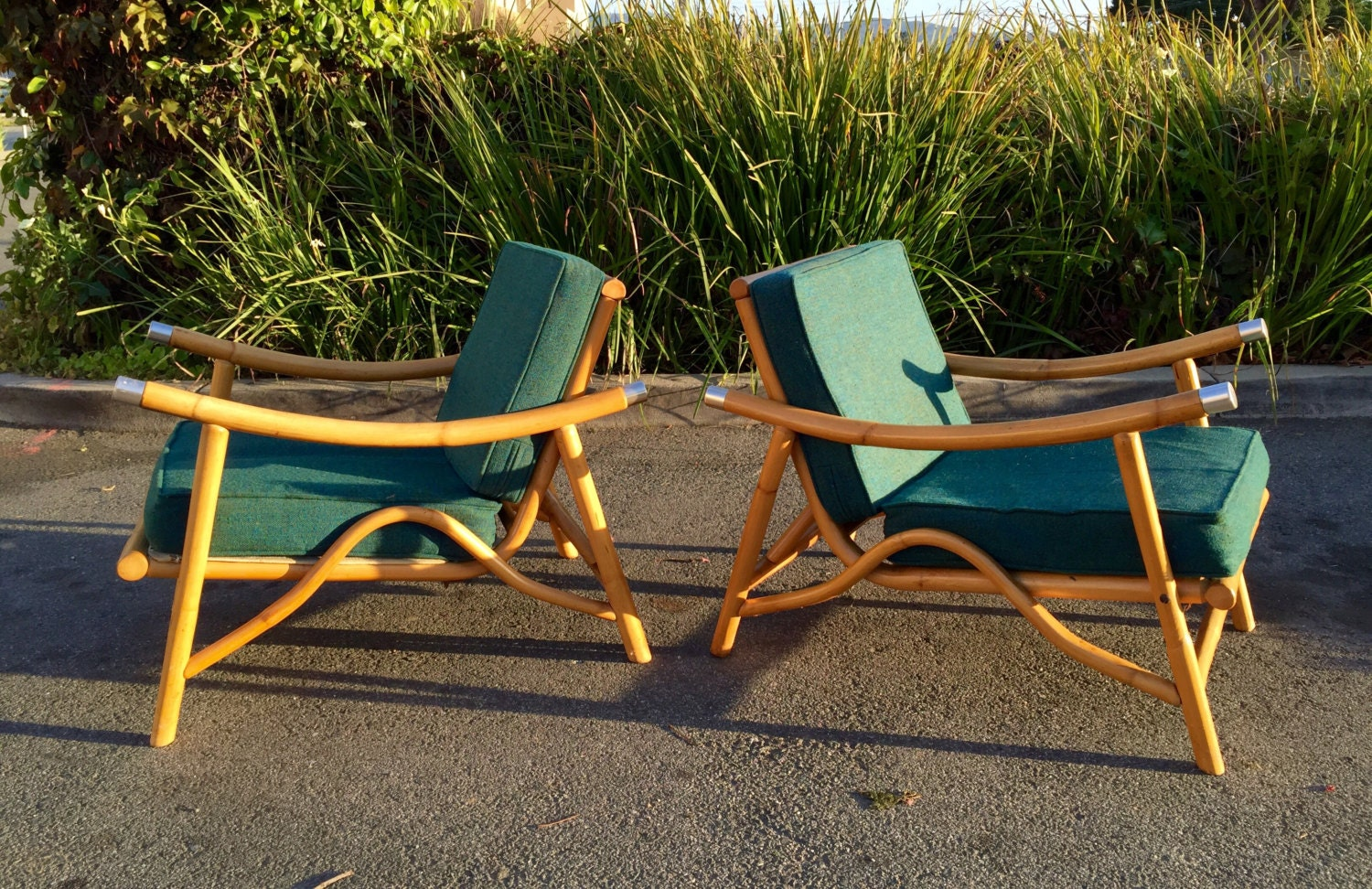 Rare 50s Mid Century Modern Bamboo Lounge Chairs