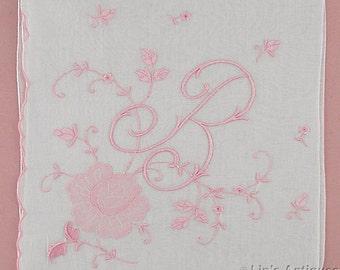 Vintage Monogram B Madeira Handkerchief White Hanky with Pink B Monogram and Pink Flowers (Inventory #M4475)