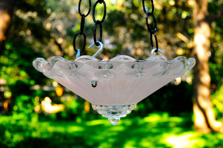 Pink Glass Hanging Bird Feeder Bird Bath Wedding By