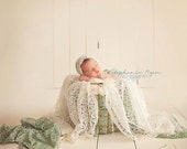 Mohair Pixie Bonnet // Newborn Infant Baby Hat // Shower Gift Photo Prop // Handmade Crochet Lace Vintage Look