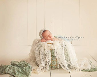 Mohair Pixie Bonnet // Newborn Infant Baby Hat // Shower Gift Photo Prop // Handmade Crochet Lace Vintage Look