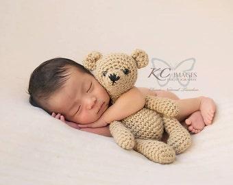 Handmade Crochet Teddy Bear & Optional Newborn Bonnet Shorts Set / Photo Prop Amigurumi Vintage Style / Perfect Baby Shower Gift / under 50