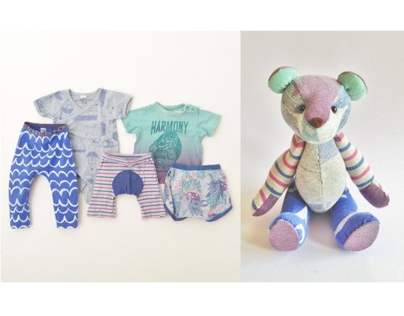 Teddy bear Memory Bear Keepsake Bear From Baby Clothing