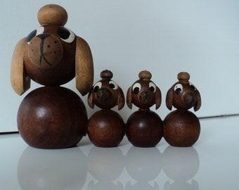 Wooden dog figurines. Kaj Bojesen style