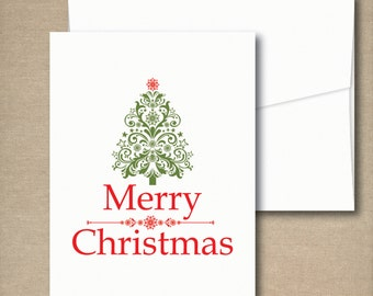 Christmas Cards, Holiday Card Set, Personalized Christmas Cards - Damask Christmas Tree