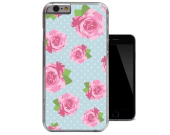 Shabby Chic iPhone 6 Case Floral iPhone 5 Case Pink Rose iPhone 5c Case Polkadot iPhone 4 Case Unique Cute Flowers iPhone 4s 5s Case (A133)