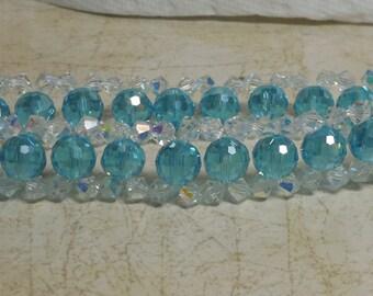 Stretch Bead Bracelet Blue with Preciosa Aurora Borealis AB Swarovski like