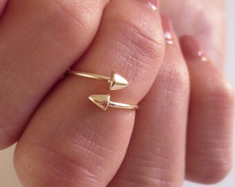 Adjustalble Spike or Cone Ring/.925 Sterling Silver or Gold over 925 Sterling Silver/Edgy Ring Wrap/Midi Ring/Knuckle Ring/Above the Knuckle