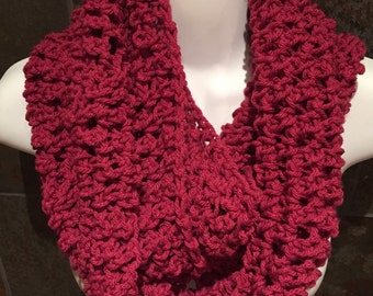 Crocheted scarf, Pink crochet infinity scarf