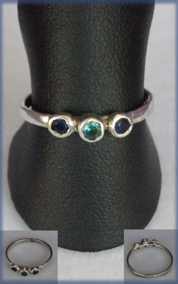 Blue CZ and topax Silver 925 pinky ring by LRJProductions on Etsy