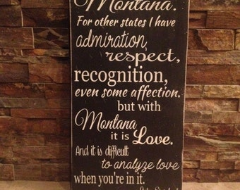 I'm In Love With Montana Distressed Wooden Sign