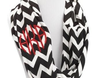 Monogrammed Jersey knit Chevron Scarf