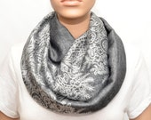 SPECIAL OFFER -Dark grey Infinity scarf with floral pattern