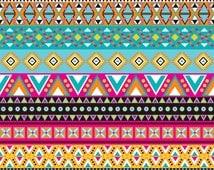 Magenta, brown, teal, aqua, yellow, orange Aztec tribal pattern HEAT TRANSFER vinyl htv sheet Peruvian pattern HTV2104