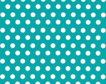 Teal with white polka dot pattern craft  vinyl sheet - HTV or Adhesive Vinyl -  medium polka dots HTV1604