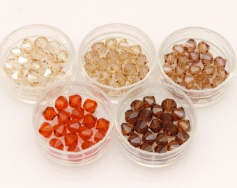 Swarovski® Bicone Bead Earth Mix,ONE HUNDRED(100)5MM Bicone Crystals, Earth Tone Assortment, Article #5301/5328, Bicone Crystal Beads