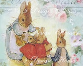 Bunny Rabbit Printable Digital Download, ACEO, Digital Collage, Easter Gift Tags, Easter Printable, Transfer Images, Vintage Digital