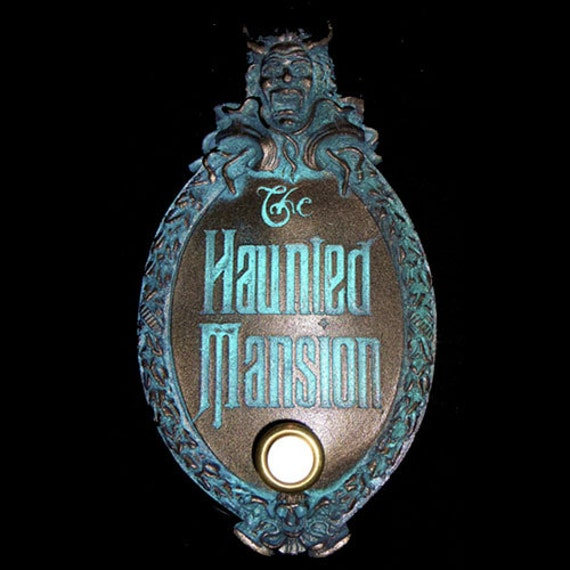 Haunted Mansion Mini Gate Plaque Finished With Door Bell