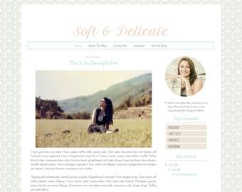 Premade Blogger Template - Simple Clean Pastel  Blog Design - Blog Layout  - Blog Theme