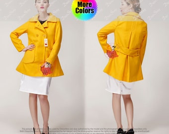 Bright Yellow Short Wool Coat - Wool Cashmere Blend Coa - Fit and Flare Wool Coat - Short Yellow Coat - Belted Wool Coat C15N502