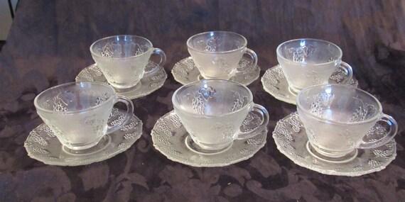 Rare depression glass 6 tea cups and 6 saucers sandwich glass for Most valuable depression glass patterns