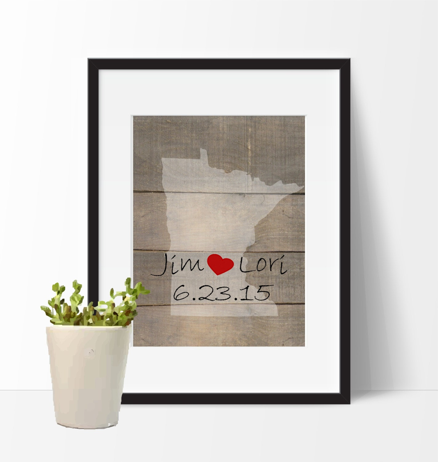 Personalized State Art Print Wedding Gift for Couple Love