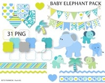 Baby Elephant clipart pack, elephant clipart, baby elephant, scrapbook supplies - BR 405