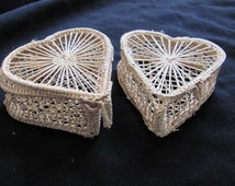 Pair of Decorative Small Basket Hinged Storage Boxes Heart Shape