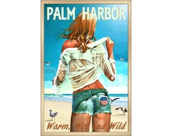 Palm Harbor Florida Pinellas County Beach Pin Up Poster New Retro Gulf of Mexico Tropical Art Print 267