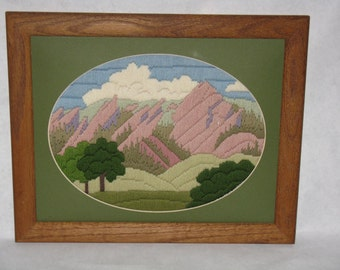 Vintage needlepoint landscape picture framed mountains long stiches crewel embroidery